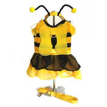 BumbleBee Fairy Dog Costume Harness Dress w/Wings, Antennae and Leash - Rocky & Maggie's Pet Boutique and Salon