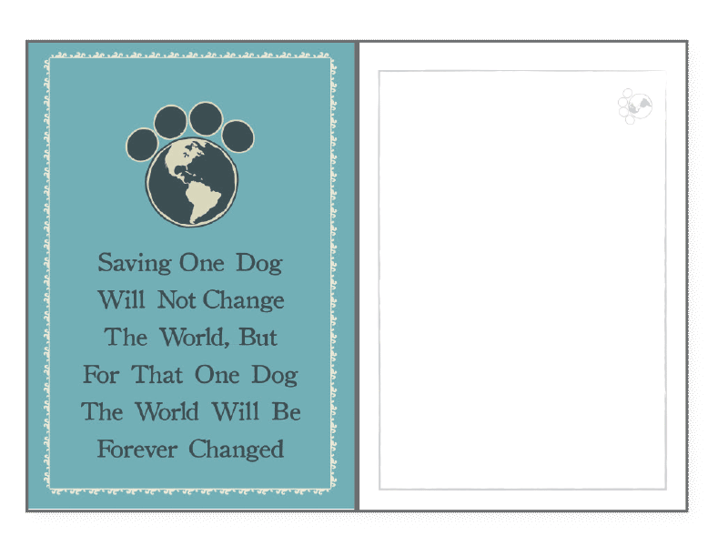 Saving One Dog Rescued Card