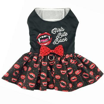 Halloween Dog Harness Dress - Girls Bite Back