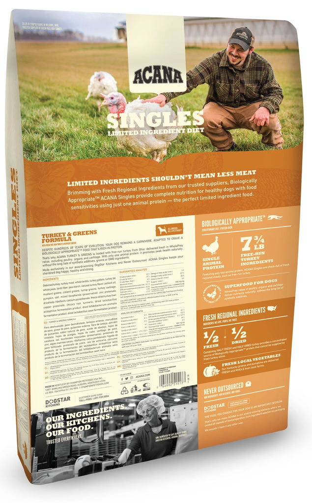 Acana Singles Turkey & Greens Dog Food - Rocky & Maggie's Pet Boutique and Salon