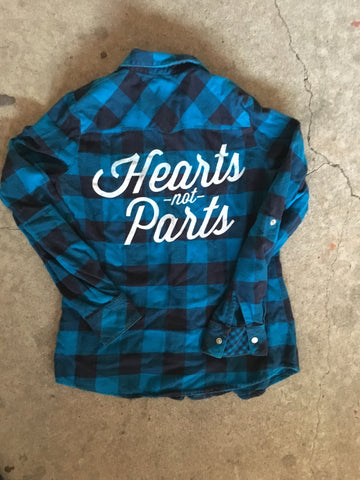 OOAK Hearts Not Parts Flannel- LIMITED AMOUNT!