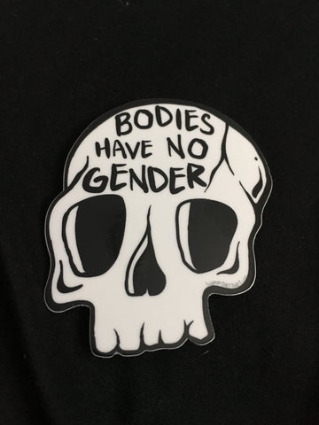 Bodies Have No Gender skull sticker