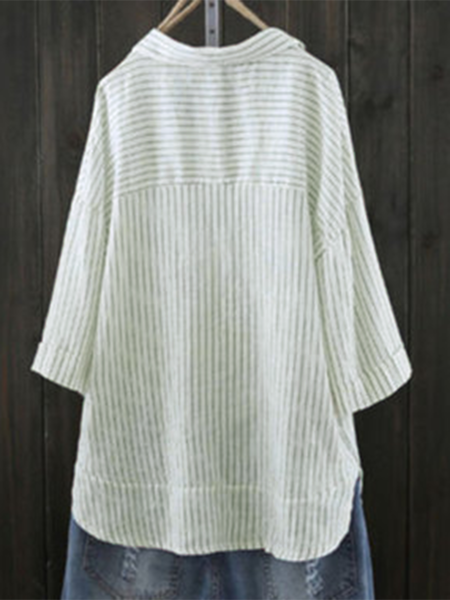 3/4 Sleeve Buttoned Casual Striped Shift Blouse