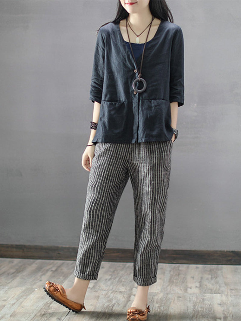 Elastic Waist Striped Linen Casual Pants