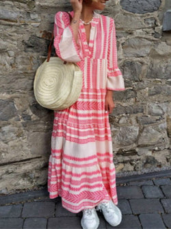 Pink Women Dresses Daily Printed Tribal Dresses