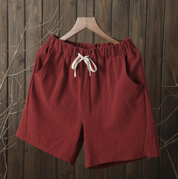Linen Women Elastic Waist Leisure Versatile Loose Shorts