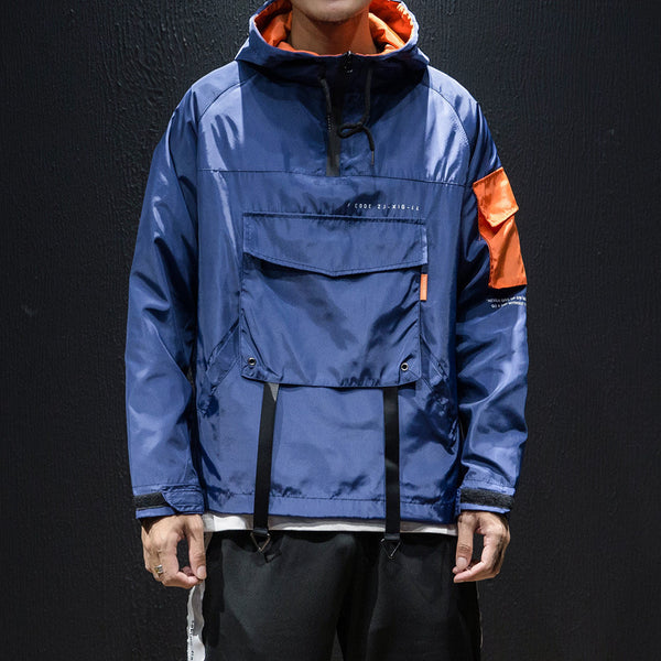 Wind-proof Hooded Pullover Hip Hop Loose Jacket