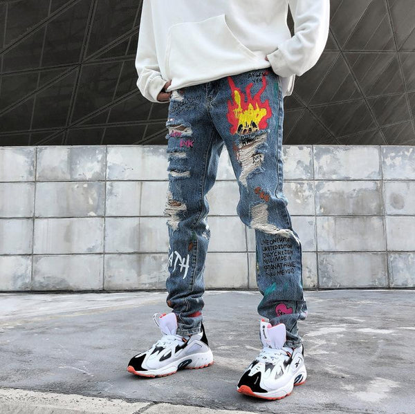 Flame Print Jeans