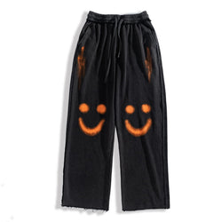 Smiley Graffiti Print Loose Straight-Leg Pants