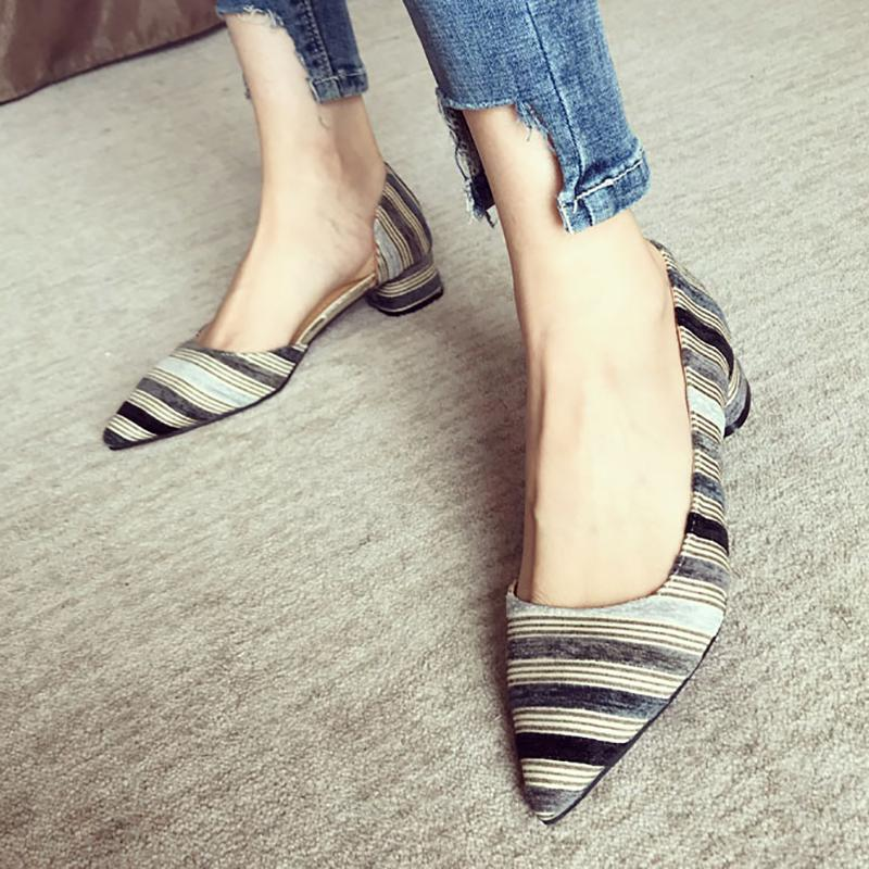Date Contrast Color Pointed Toe Striped Flats