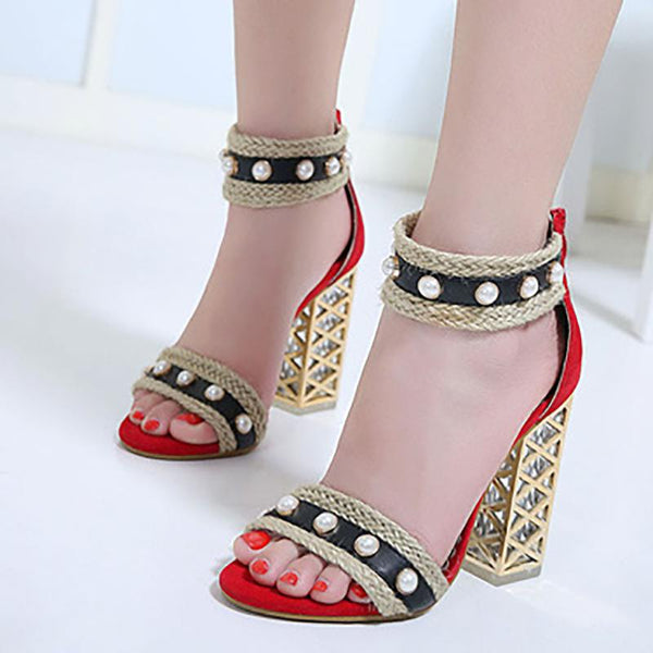 Women Imitation Pearl Sexy Open Toe Heels