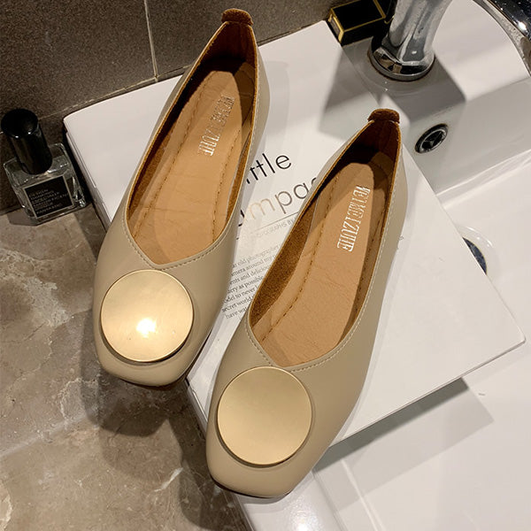 Soft Square Toe Elegant Date Flat Heel Shoes