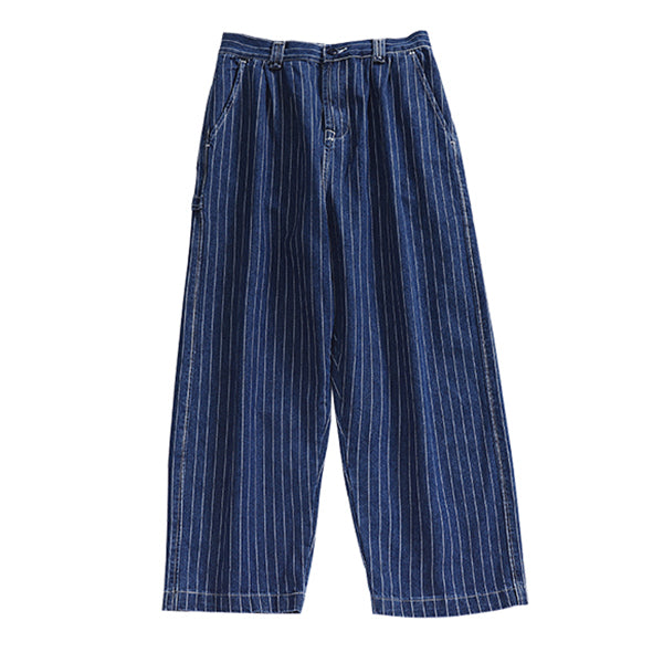 Japanese Retro Loose Straight Striped Pants