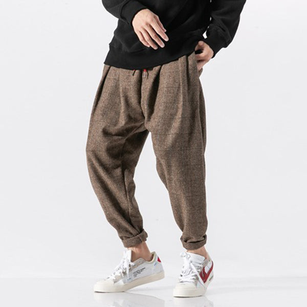 Japanese Thick Casual Plaid Trousers