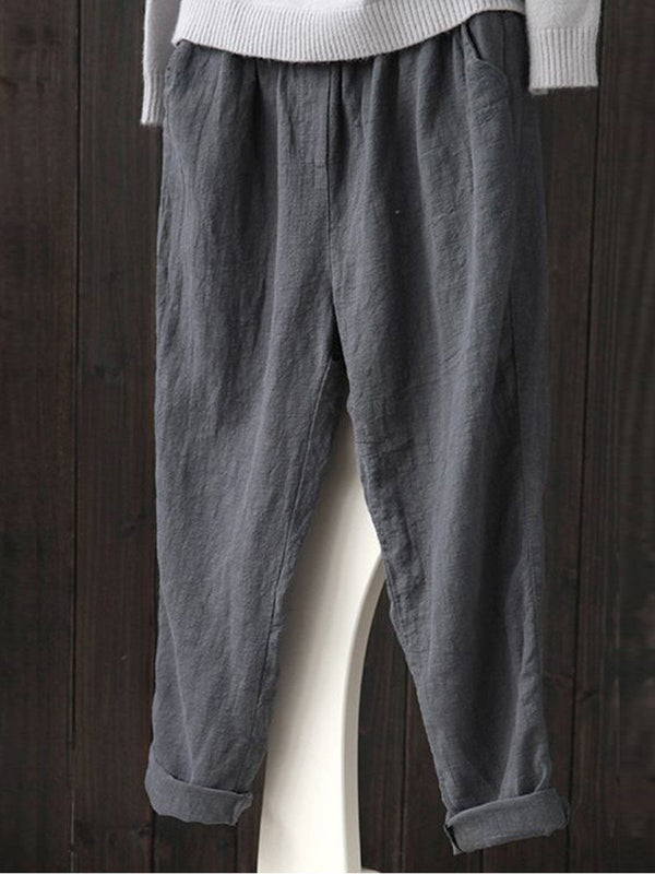 Gray Simple Basic Shift Solid Plus Size Pants