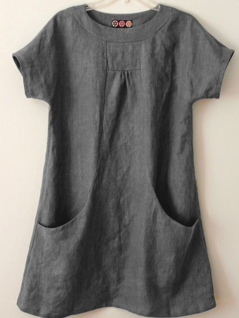 Short Sleeve Pockets Cotton-Blend Shirts & Tops
