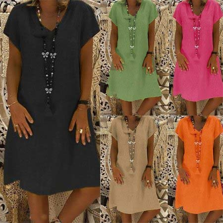 Casual Solid V-Neck Plus Size Dress