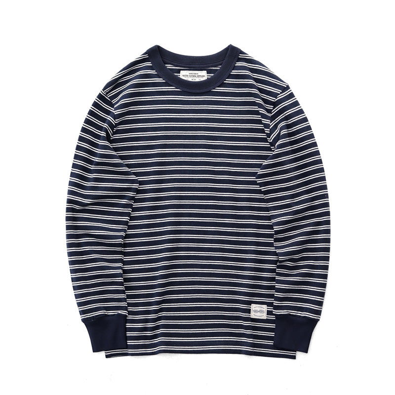 American Retro Blue And White Striped Long Sleeve T-shirt