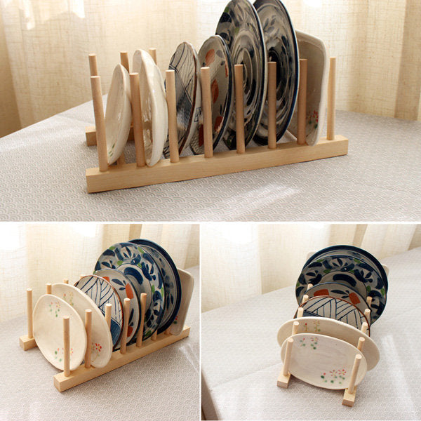 Wooden Dish Plate Storage Holders Folding Racks Drying Shelf