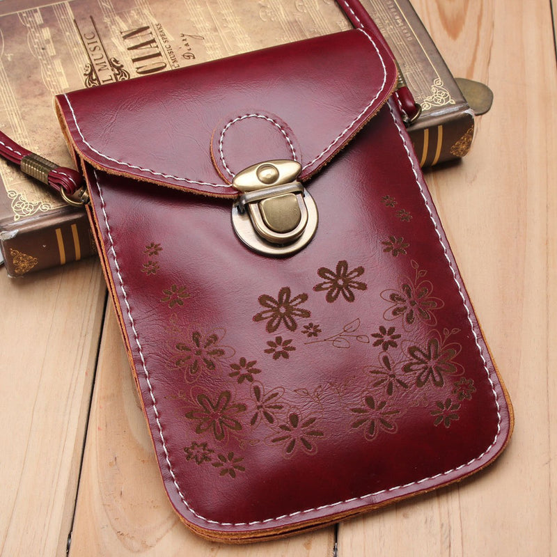 Women Vintage Flower Pattern Mini Crossbody Bag