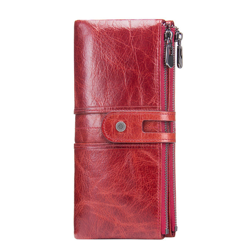 Real cowhide long women's wallet