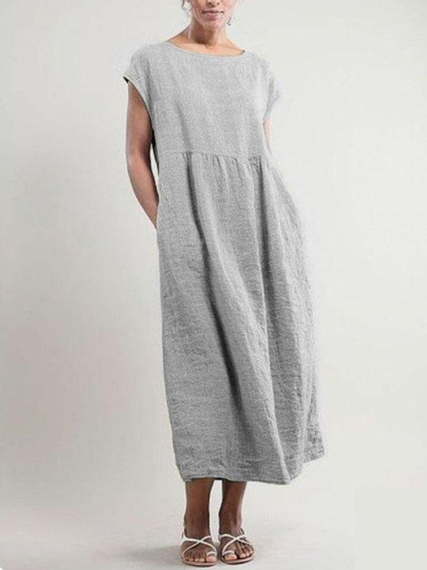 Crew Neck Women Dresses Shift Daily Cotton Pockets Dresses