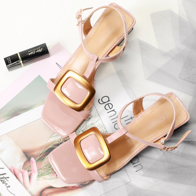Metal Button Sweet Date Summer Chunky Heel Sandals