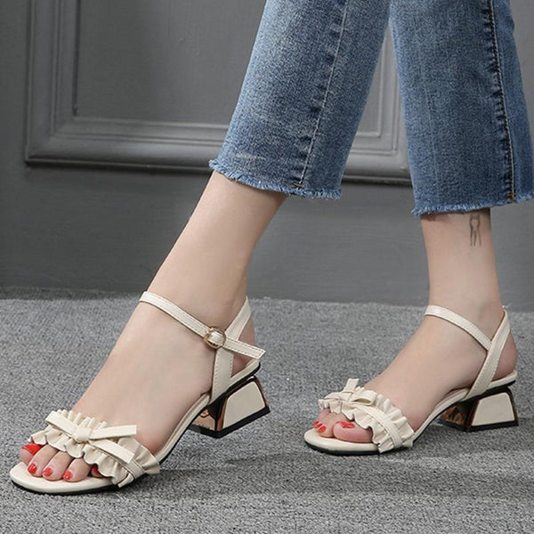 Chunky Heel Elegant Women Open Toe Date Sandals
