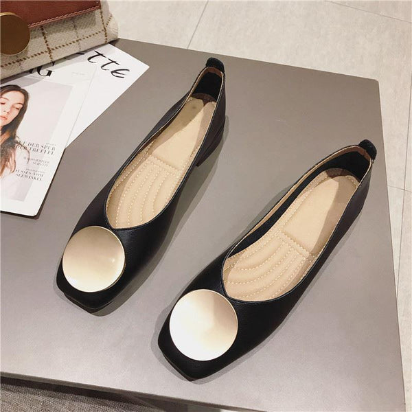 Square Toe Elegant Date Flat Heel Shoes