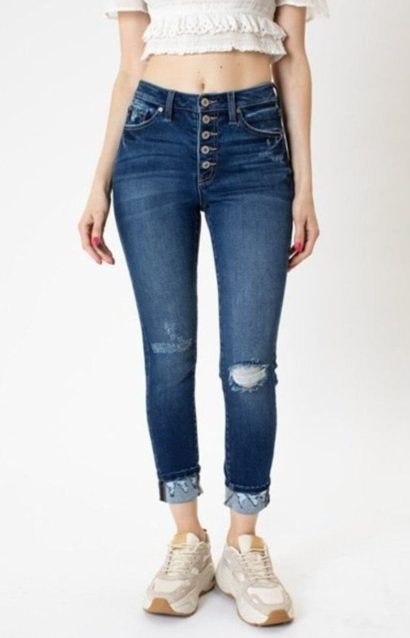 Kancan jeans high rise button fly ankle skinny