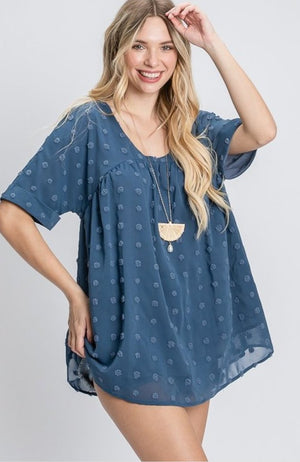 Swiss dot cuffed sleeve top