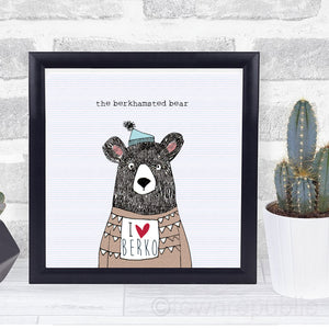 The Berkhamsted Bear LOVES Berko Framed Mini Print