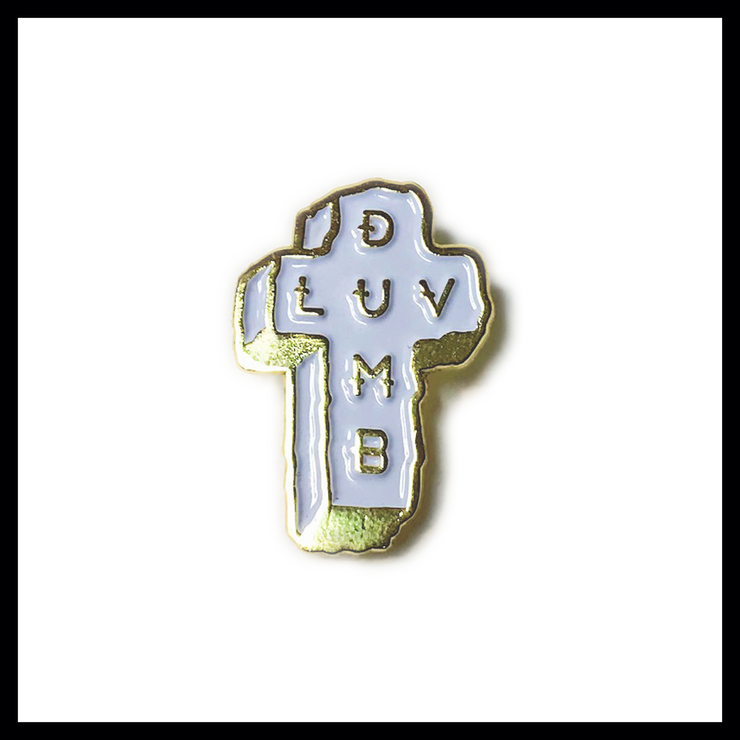 DUMB LUV WHITE & GOLD ENAMEL PIN