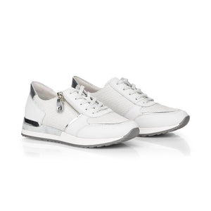 Remonte R2511-80 - Ladies Silver & White Lace Up Shoes