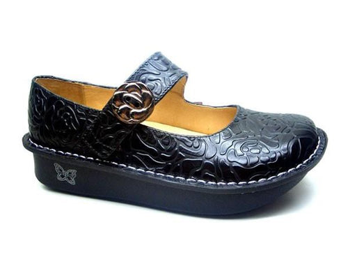 Alegria Paloma Black Embossed Rose shoe