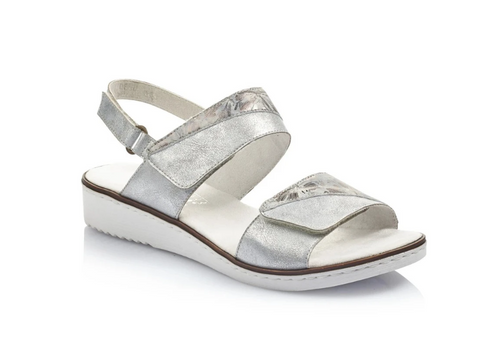 Rieker 636G9-80 Metallic Silver with Floral Print Womens Comfort Sandal