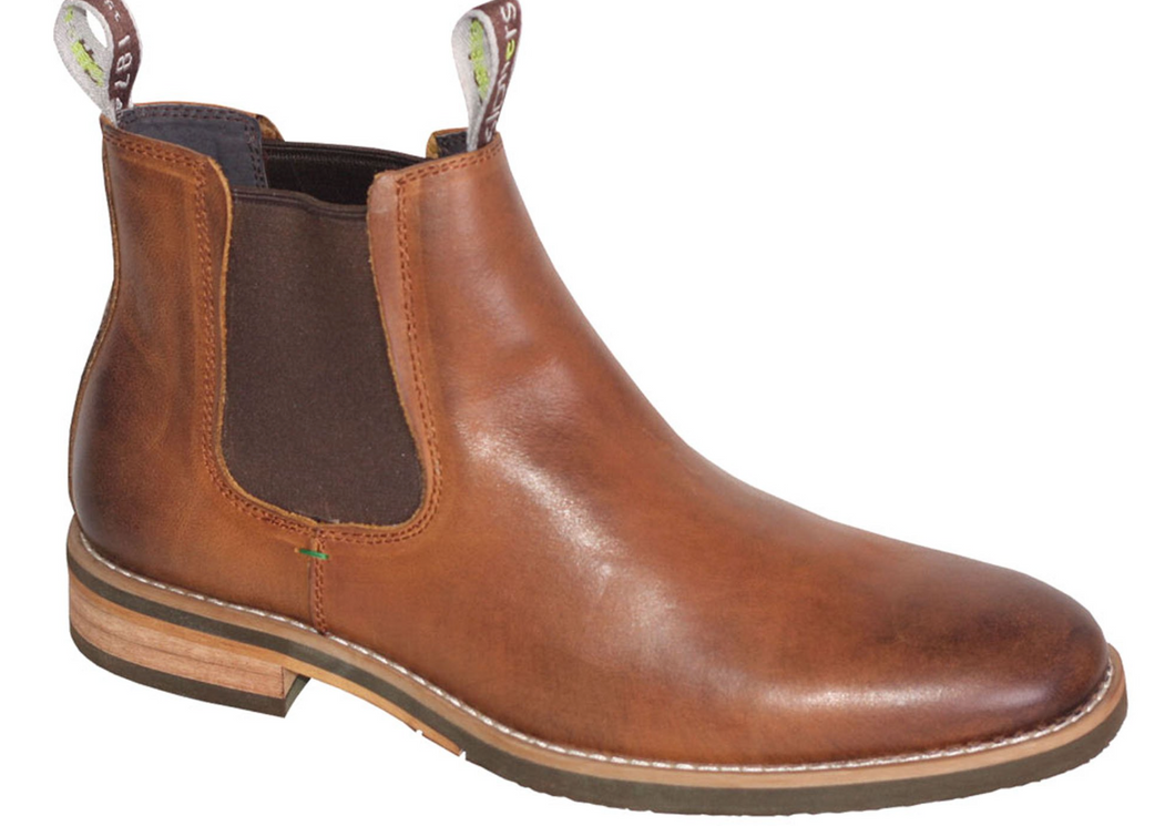 Slatters Optimum Mens Comfortable Leather Pull On Chelsea Dress Boots
