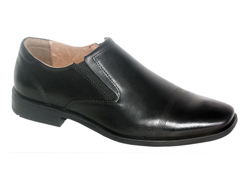 Slatters Houston Black Mens Leather Slip On Dress Shoes