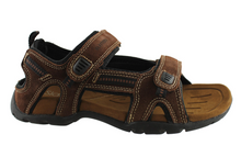 Load image into Gallery viewer, Slatters Broome II Mens Comfort Leather Sandals With Adjustable Straps