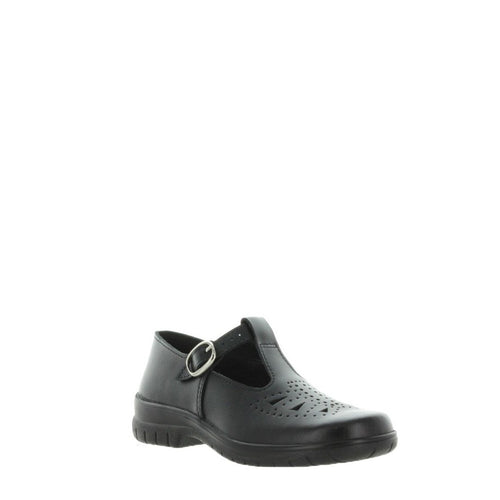 Wilde Jarra T-bar wide fit school shoe Black Smooth