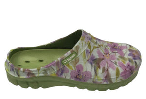 Clogees Woman's Garden & Service Clogs Water Lime Lilly