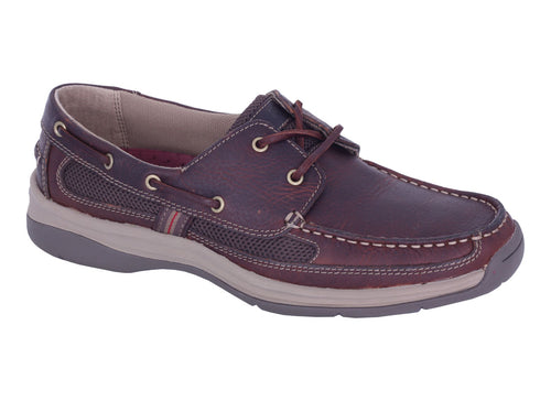 Slatters Shackle Walnut Mens Comfortable Boat Shoes