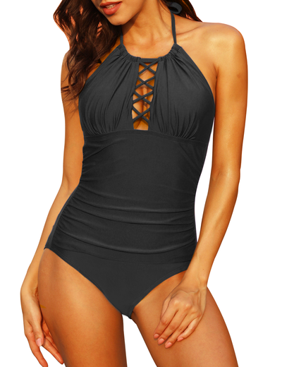 Firpearl Womens One Piece Swimsuit Retro Lace up Ruffle Bathing Suit Shirred Swimdress