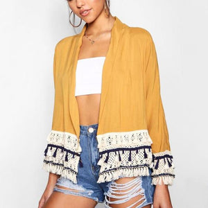 c932ef09ae7f Casual Vacation Fashion Color Block Fringe Hem Long Sleeve Cardigan