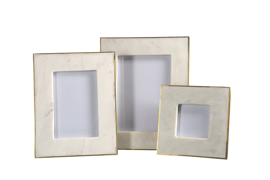 Picture Frame - White Marble w/ Brass; 3.5 x 3.5 Photo
