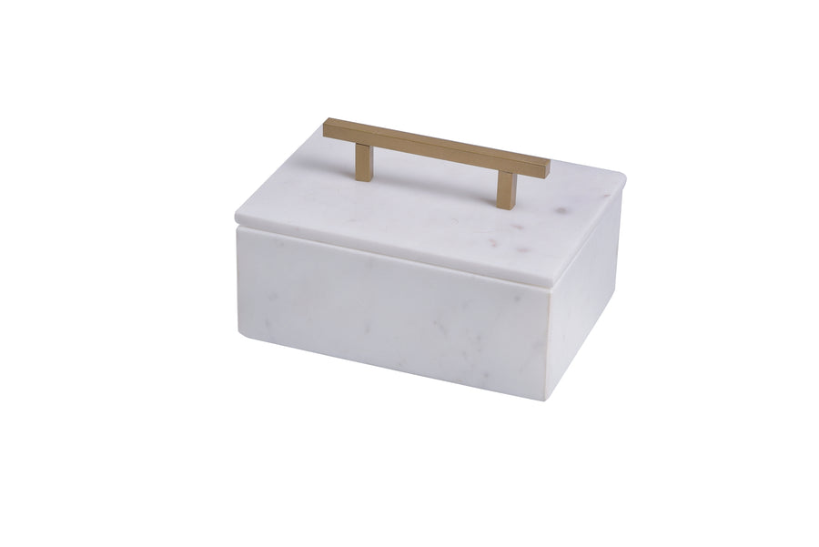 Marble Jewelry Box w/ Handle - Small