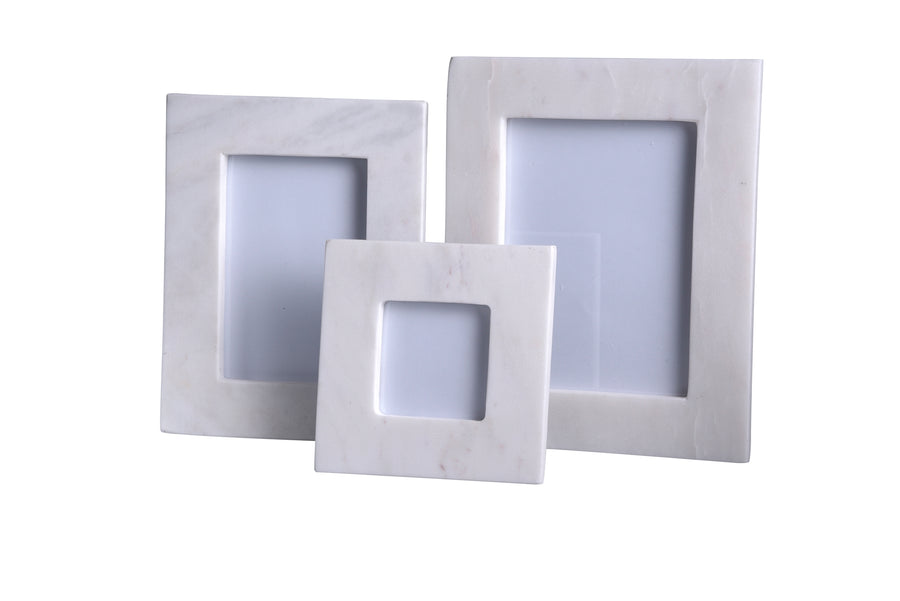 Picture Frame - White Marble; 3.5 x 3.5 Photo