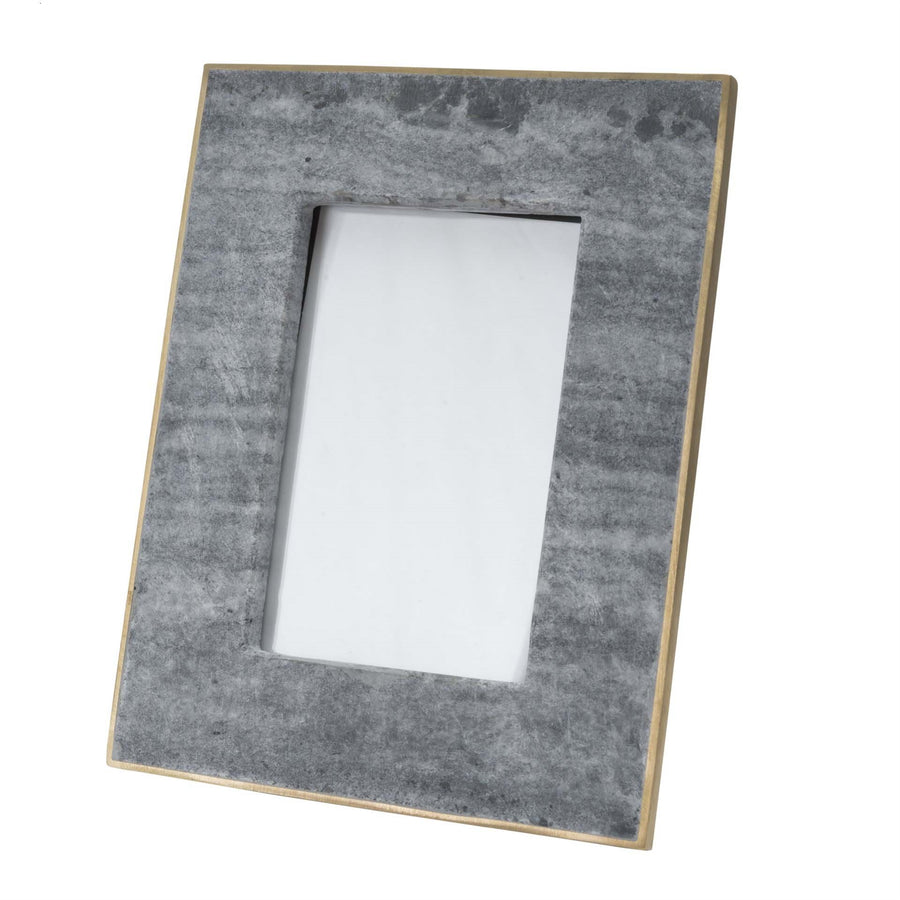 Picture Frame - Black Marble w/ Brass; 4 x 6 Photo