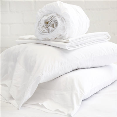 Cotton Percale Sheet Set - White