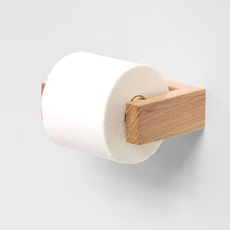 Wall Mounted Toilet Roll Holder - Natural Oak